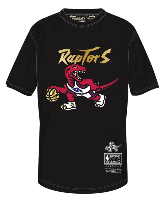 Men's Toronto Raptors Mitchell & Ness Black Red & Gold Hardwood Classics Retro Logo T-Shirt