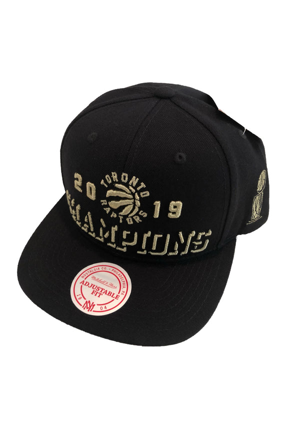 Men's Toronto Raptors NBA 2019 Champions Word Mark Mitchell & Ness Cap Black Snapback