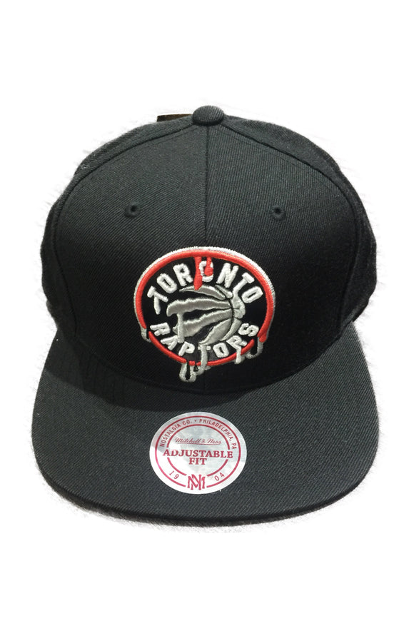 Toronto Raptors Drip Primary Logo NBA Basketball Mitchell   Ness Black  Snapback Hat 03be2a7d9849
