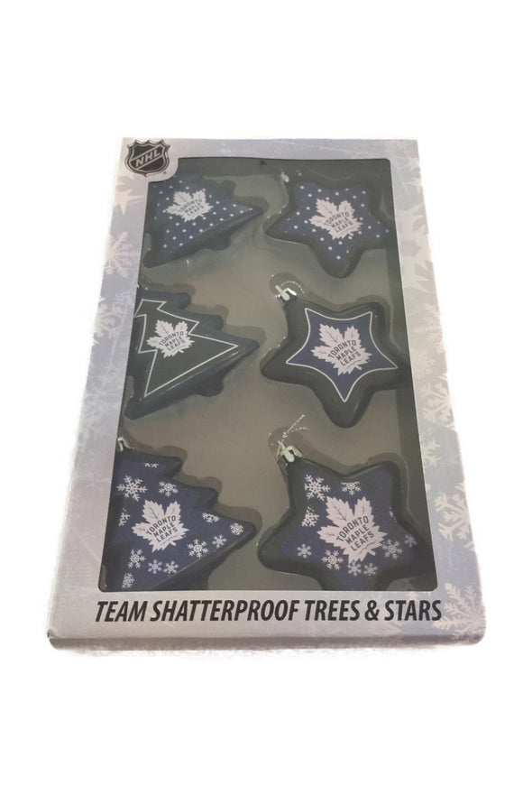 Toronto Maple Leafs Set of 6 Tress & Stars Shatterproof Christmas Tree Ornaments - Bleacher Bum Collectibles, Toronto Blue Jays, NHL , MLB, Toronto Maple Leafs, Hat, Cap, Jersey, Hoodie, T Shirt, NFL, NBA, Toronto Raptors