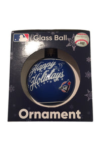 Toronto Blue Jays Retro Logo Happy Holidays Single Glass Ball Ornament MLB Baseball - Bleacher Bum Collectibles, Toronto Blue Jays, NHL , MLB, Toronto Maple Leafs, Hat, Cap, Jersey, Hoodie, T Shirt, NFL, NBA, Toronto Raptors
