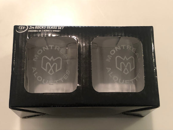 Montreal Alouettes Logo CFL Football Satin Etched Rocks Glass Set of Two 10oz