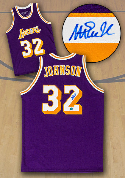 Magic Johnson Los Angeles Lakers Autographed Purple Custom Basketball Jersey - Bleacher Bum Collectibles, Toronto Blue Jays, NHL , MLB, Toronto Maple Leafs, Hat, Cap, Jersey, Hoodie, T Shirt, NFL, NBA, Toronto Raptors