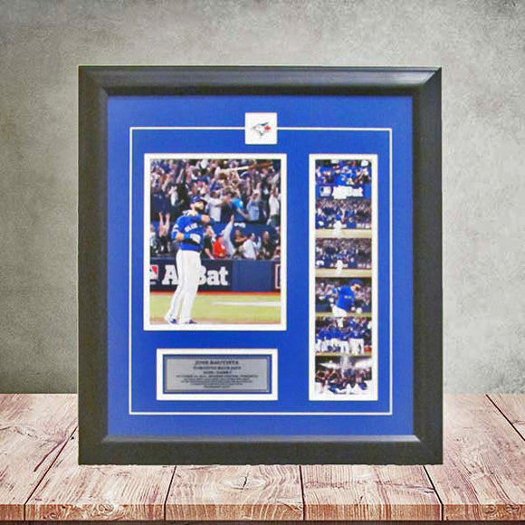 Toronto Blue Jays Framed Picture Jose Bautista ALDS Bat Flip Home Run Film Strip - Bleacher Bum Collectibles, Toronto Blue Jays, NHL , MLB, Toronto Maple Leafs, Hat, Cap, Jersey, Hoodie, T Shirt, NFL, NBA, Toronto Raptors