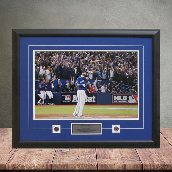 Toronto Blue Jays Framed Picture Jose Bautista ALDS Bat Flip Home Run Horizontal - Bleacher Bum Collectibles, Toronto Blue Jays, NHL , MLB, Toronto Maple Leafs, Hat, Cap, Jersey, Hoodie, T Shirt, NFL, NBA, Toronto Raptors