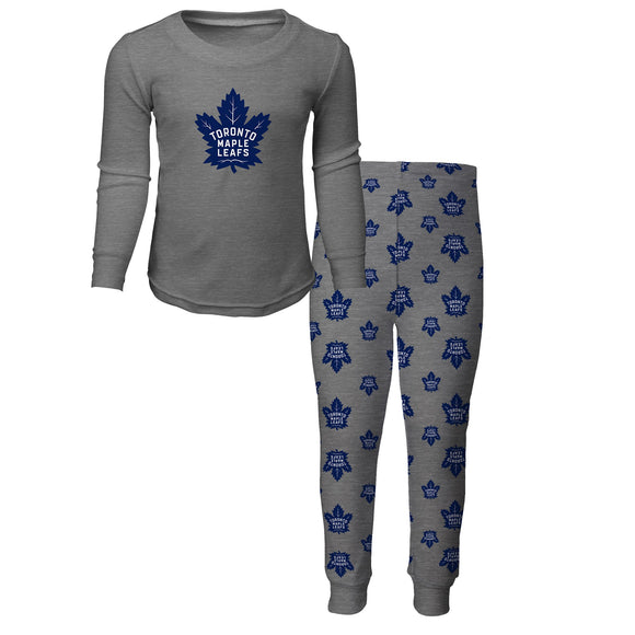 Toronto Maple Leafs 2 Piece Pyjamas Grey Primary Logo Shirt & Pants Set - Multiple Kids Sizes - Bleacher Bum Collectibles, Toronto Blue Jays, NHL , MLB, Toronto Maple Leafs, Hat, Cap, Jersey, Hoodie, T Shirt, NFL, NBA, Toronto Raptors