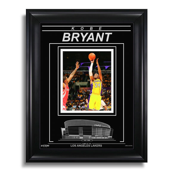 Kobe Bryant Los Angeles Lakers Art of the Sport Engraved Etched Stadium Framed Photo - Bleacher Bum Collectibles, Toronto Blue Jays, NHL , MLB, Toronto Maple Leafs, Hat, Cap, Jersey, Hoodie, T Shirt, NFL, NBA, Toronto Raptors