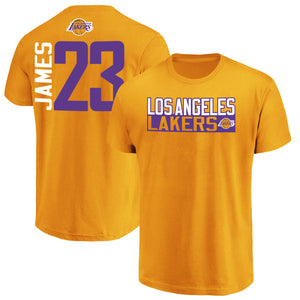 online store 463e4 29dcb LeBron James Los Angeles Lakers Fanatics Branded Vertical Name & Number  T-Shirt – Gold