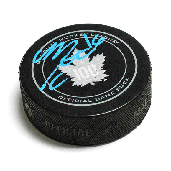 Mitch Marner Toronto Maple Leafs Autographed 100th Anniversary Game Model Puck - Bleacher Bum Collectibles, Toronto Blue Jays, NHL , MLB, Toronto Maple Leafs, Hat, Cap, Jersey, Hoodie, T Shirt, NFL, NBA, Toronto Raptors