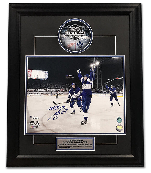 Mitch Marner Toronto Maple Leafs Autographed Centennial Classic - Limited Edition #/100 Frame - Bleacher Bum Collectibles, Toronto Blue Jays, NHL , MLB, Toronto Maple Leafs, Hat, Cap, Jersey, Hoodie, T Shirt, NFL, NBA, Toronto Raptors