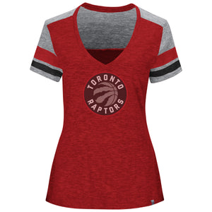 Women's Toronto Raptors Two Tone Heather All My Hearts V Neck T Shirt by Majestic