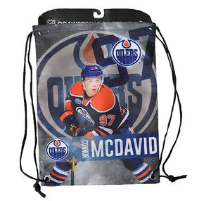 Edmonton Oilers Forever Collectibles NHL Player Drawstring Gym Bag - Connor McDavid - Bleacher Bum Collectibles, Toronto Blue Jays, NHL , MLB, Toronto Maple Leafs, Hat, Cap, Jersey, Hoodie, T Shirt, NFL, NBA, Toronto Raptors
