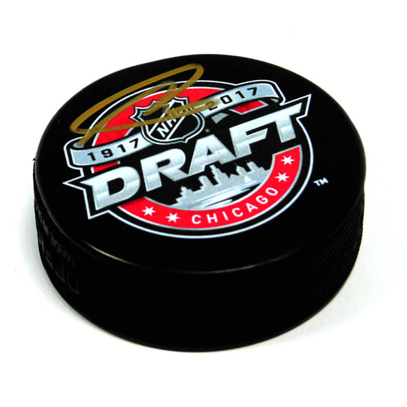 Nolan Ryan 2017 NHL Draft Day Signed Autograph Model Hockey Puck