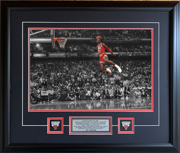 Michael Jordan Chicago Bulls AIR JORDAN Spotlight Picture 25x29 Framed with Pins and Plate