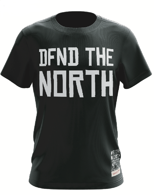 Men's Toronto Raptors Mitchell & Ness Dfnd The North Stacked Black T-Shirt
