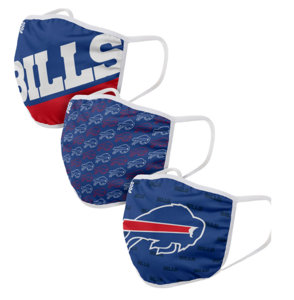Buffalo Bills NFL Football Gametime Foco Pack of 3 Adult Face Covering Mask