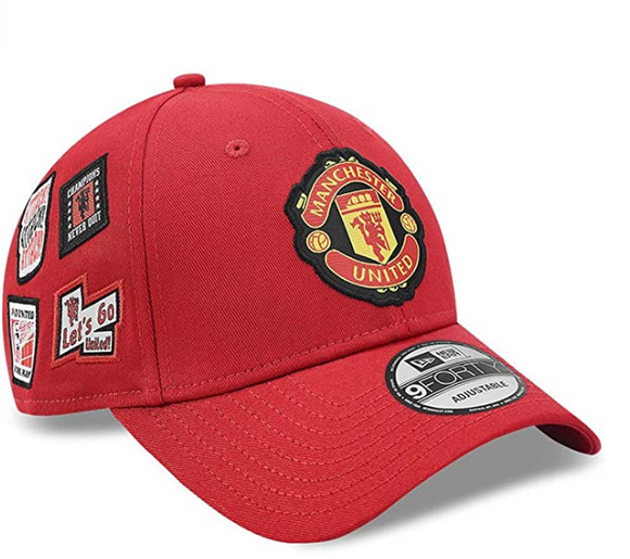 Manchester United F.C. Soccer Club New Era 9Forty Red Multi Patch Adjustable Buckle Hat