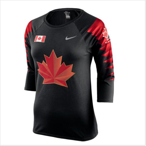 Team Canada Nike Women's 2018 Olympic Black 3/4 Raglan T Shirt - Bleacher Bum Collectibles, Toronto Blue Jays, NHL , MLB, Toronto Maple Leafs, Hat, Cap, Jersey, Hoodie, T Shirt, NFL, NBA, Toronto Raptors