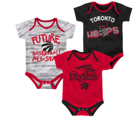 finest selection 1886f f91b7 Toronto Raptors Red/Black/White Three-Pack Bodysuit Set - Multiple Infant  Sizes