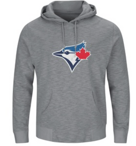 Men's Toronto Blue Jays Majestic Gray Without Delay Fleece Pullover Hooded Sweatshirt - Bleacher Bum Collectibles, Toronto Blue Jays, NHL , MLB, Toronto Maple Leafs, Hat, Cap, Jersey, Hoodie, T Shirt, NFL, NBA, Toronto Raptors