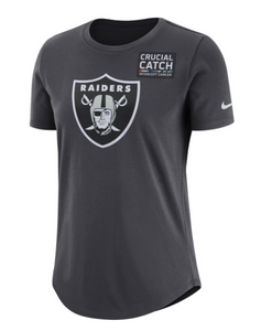 Women's Oakland Raiders Nike Anthracite Crucial Catch Tri-Blend T-Shirt - Bleacher Bum Collectibles, Toronto Blue Jays, NHL , MLB, Toronto Maple Leafs, Hat, Cap, Jersey, Hoodie, T Shirt, NFL, NBA, Toronto Raptors