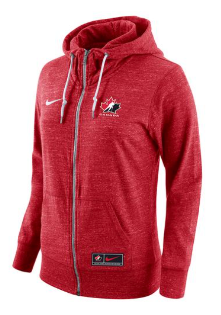 Women's 2019 Team Canada Nike Gym Vintage Full Zip Red Hoodie Top - Bleacher Bum Collectibles, Toronto Blue Jays, NHL , MLB, Toronto Maple Leafs, Hat, Cap, Jersey, Hoodie, T Shirt, NFL, NBA, Toronto Raptors