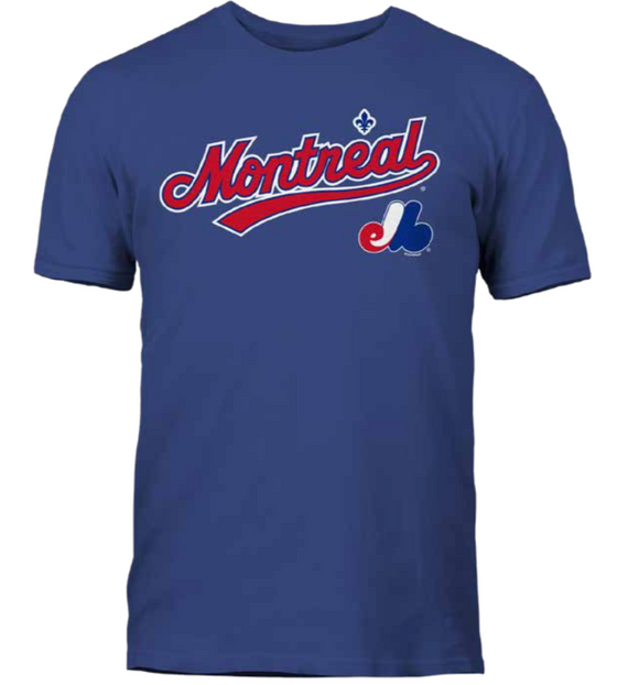 Men's Montreal Expos Royal City Pride Wordmark & Logo MLB Baseball T Shirt - Multiple Sizes - Bleacher Bum Collectibles, Toronto Blue Jays, NHL , MLB, Toronto Maple Leafs, Hat, Cap, Jersey, Hoodie, T Shirt, NFL, NBA, Toronto Raptors