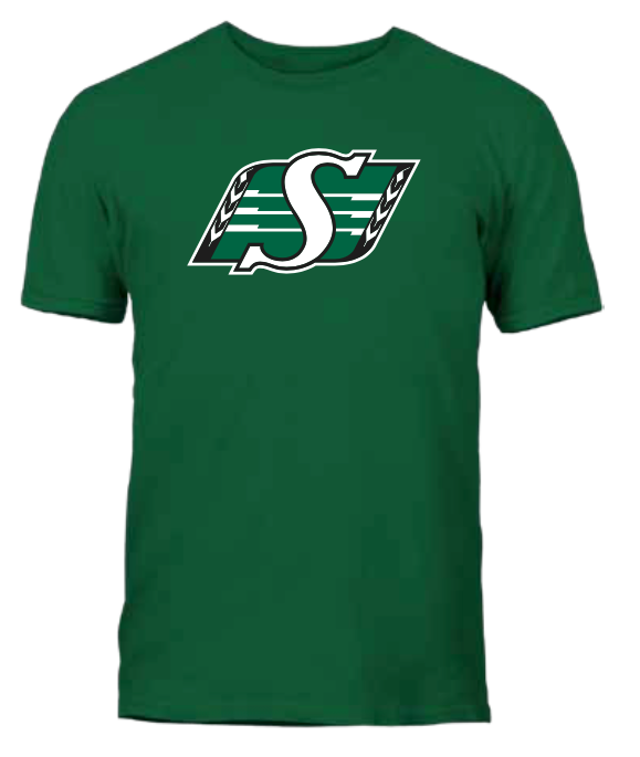 Men's Saskatchewan Roughriders Green Primary Logo CFL Football T Shirt - Multiple Sizes