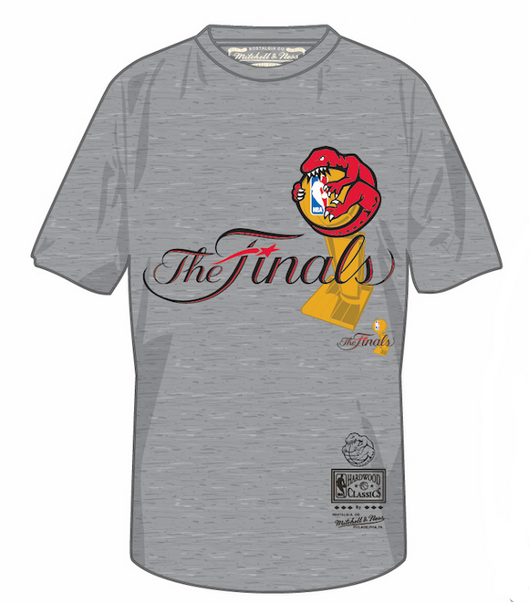 Men's Toronto Raptors Mitchell & Ness Hug The Trophy The Finals Hardwood Classics Retro Logo Grey T-Shirt