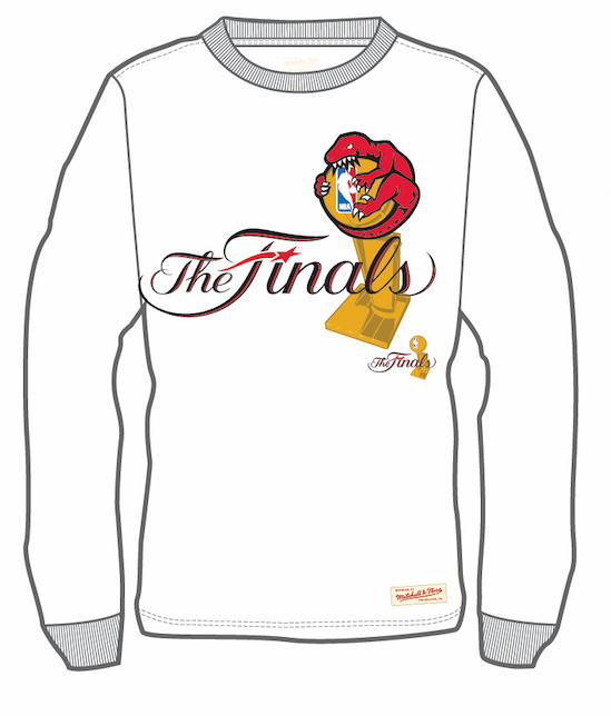 Men's Toronto Raptors Mitchell & Ness Hug The Trophy The Finals Hardwood Classics Retro Logo Long Sleeves T-Shirt