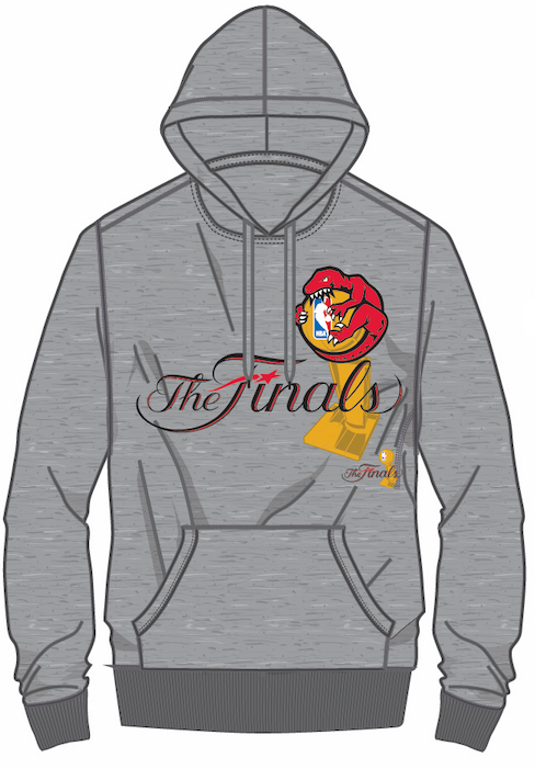 Men's Toronto Raptors Mitchell & Ness Hug The Trophy The Finals Hardwood Classics Retro Logo Grey Sweatshirt