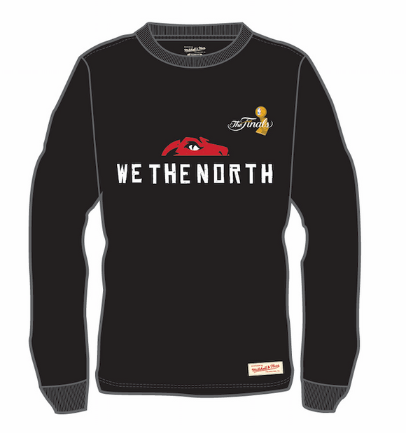 Men's Toronto Raptors Mitchell & Ness We The North Half Head The Finals Hardwood Classics Retro Logo Long Sleeves T-Shirt