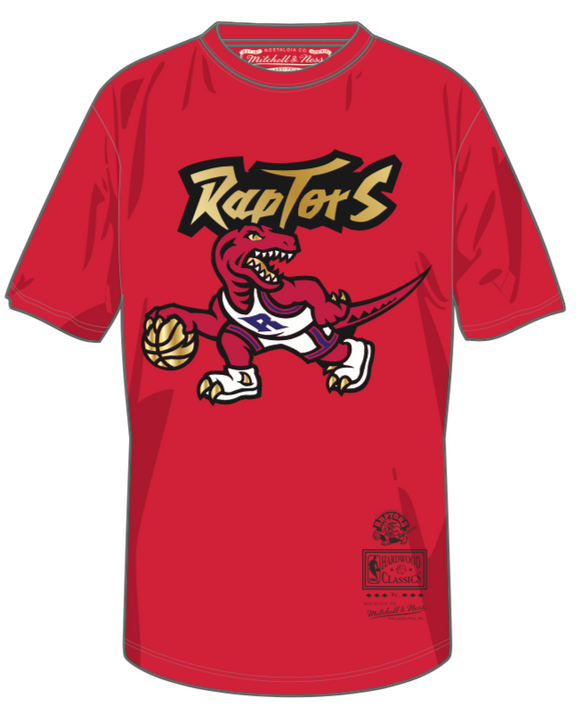 Men's Toronto Raptors Mitchell & Ness Red & Gold Hardwood Classics Retro Logo T-Shirt