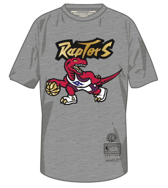 Men's Toronto Raptors Mitchell & Ness Grey Red & Gold Hardwood Classics Retro Logo T-Shirt