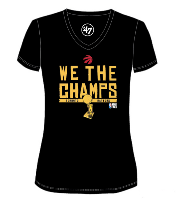 Women's Toronto Raptors We The Champs Champions Black 2019 NBA Basketball V Neck T Shirt