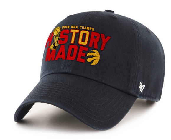 Men's Toronto Raptors 47 Brand Black 2019 NBA Finals Champions History Made MVP Clean Up Adjustable Hat Cap