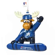 Toronto Blue Jays MLB Baseball Snowboard Moose Christmas Tree Ornament - Bleacher Bum Collectibles, Toronto Blue Jays, NHL , MLB, Toronto Maple Leafs, Hat, Cap, Jersey, Hoodie, T Shirt, NFL, NBA, Toronto Raptors