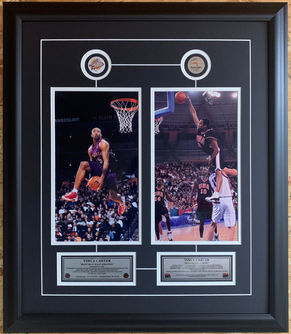 Toronto Raptors Vince Carter Dual Pictures Slam Dunk Framed With Pins & Plaque