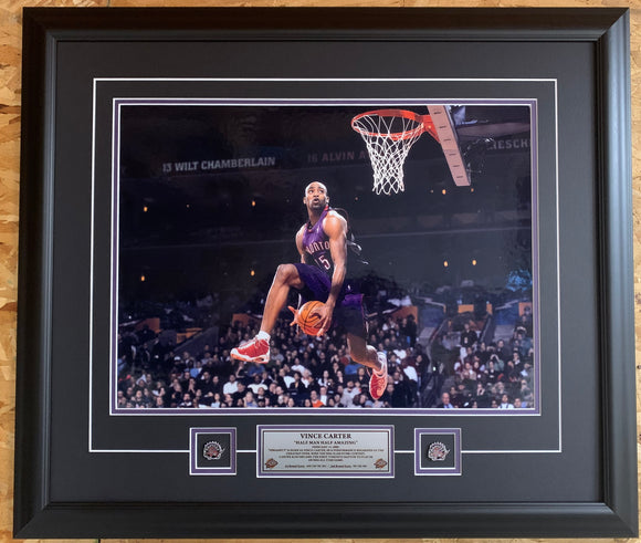 Toronto Raptors Vince Carter Dunk Contest 16x20 Picture Framed With Pins & Plaque