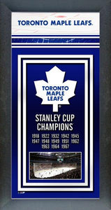 "Toronto Maple Leafs Stanley Cup Banner 6.75"" x 13"" Mini Glass Front Frame NHL Hockey - Bleacher Bum Collectibles, Toronto Blue Jays, NHL , MLB, Toronto Maple Leafs, Hat, Cap, Jersey, Hoodie, T Shirt, NFL, NBA, Toronto Raptors"