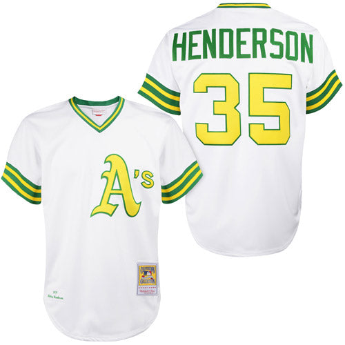 Men's Oakland Athletics Rickey Henderson Mitchell & Ness 1979 White Cooperstown Collection Authentic Jersey
