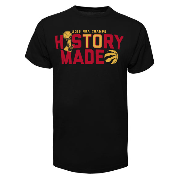 Men's Toronto Raptors History Made Champions Black 2019 NBA Basketball T Shirt - Bleacher Bum Collectibles, Toronto Blue Jays, NHL , MLB, Toronto Maple Leafs, Hat, Cap, Jersey, Hoodie, T Shirt, NFL, NBA, Toronto Raptors