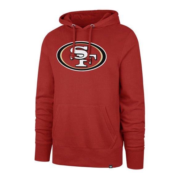 Men's San Francisco 49ers NFL Football Imprint Headline Team Colour Logo Pullover Red Hoodie