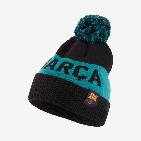 Team FC Barcelona Football Club Soccer EPL Black Teal Team Word Mark Cuffed Knit Pom Toque Beanie - Bleacher Bum Collectibles, Toronto Blue Jays, NHL , MLB, Toronto Maple Leafs, Hat, Cap, Jersey, Hoodie, T Shirt, NFL, NBA, Toronto Raptors