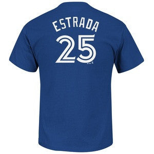 Women's Ladies Toronto Blue Jays Marco Estrada Majestic Royal Name and Number T-Shirt - Bleacher Bum Collectibles, Toronto Blue Jays, NHL , MLB, Toronto Maple Leafs, Hat, Cap, Jersey, Hoodie, T Shirt, NFL, NBA, Toronto Raptors
