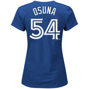 Women's Ladies Toronto Blue Jays Roberto Osuna Majestic Royal Name and Number T-Shirt - Bleacher Bum Collectibles, Toronto Blue Jays, NHL , MLB, Toronto Maple Leafs, Hat, Cap, Jersey, Hoodie, T Shirt, NFL, NBA, Toronto Raptors