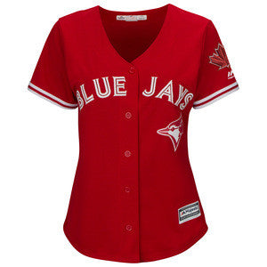 Women's Toronto Blue Jays Majestic Scarlet 2017 Cool Base Replica Team Jersey With Maple Leafs Patch - Bleacher Bum Collectibles, Toronto Blue Jays, NHL , MLB, Toronto Maple Leafs, Hat, Cap, Jersey, Hoodie, T Shirt, NFL, NBA, Toronto Raptors
