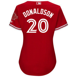 Women's Toronto Blue Jays Josh Donaldson Majestic Scarlet 2017 Cool Base Replica Player Jersey With Maple Leaf Patch - Bleacher Bum Collectibles, Toronto Blue Jays, NHL , MLB, Toronto Maple Leafs, Hat, Cap, Jersey, Hoodie, T Shirt, NFL, NBA, Toronto Raptors