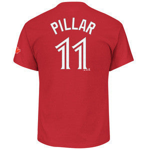Men's Toronto Blue Jays Red Alternate Kevin Pillar Name Number T Shirt - Bleacher Bum Collectibles, Toronto Blue Jays, NHL , MLB, Toronto Maple Leafs, Hat, Cap, Jersey, Hoodie, T Shirt, NFL, NBA, Toronto Raptors