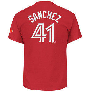 Men's Toronto Blue Jays Red Alternate Aaron Sanchez Name Number T Shirt - Bleacher Bum Collectibles, Toronto Blue Jays, NHL , MLB, Toronto Maple Leafs, Hat, Cap, Jersey, Hoodie, T Shirt, NFL, NBA, Toronto Raptors